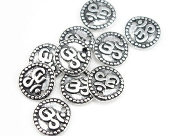 Small Silver Om Charms Silver Charms Yoga Charms TierraCast Om Coin Drops Antique Silver Mindfulness Jewelry Supplies (P361)