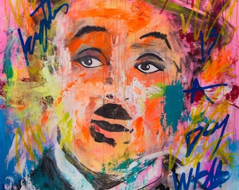 Charles Chaplin Pop Art Neon Portrait - Vivid Color 150x90cm (163x103cm Unestrectched) Original By Carlo Pun
