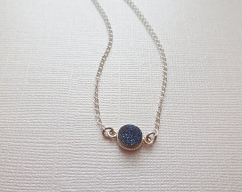 Silver blue navy druzy silver plated dainty silver chain necklace