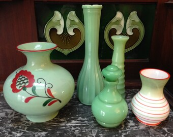 Collection of Jadite and Cased Green Glass Vases and Bottles, Vintage Art Deco