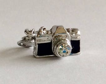 CLEARANCE Retro/Vintage Camera Lobster Clasp Charm in Bright Silver Finish, Black Enamel Trim and Rhinestone Lens.