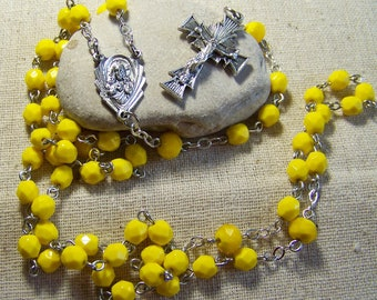 handmade yellow Catholic silver rosary in silver