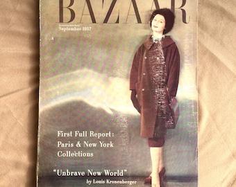 50's Magazine, Vintage 1950's Fashion Magazine, Harper's Bazaar September 1957, 50's Fashion, Vintage Advertisements, RARE