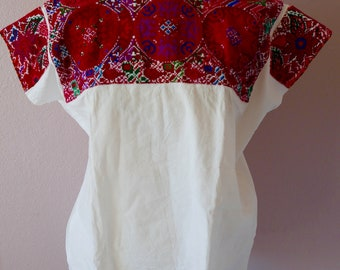 "Chiapas Mexican embroidered blouse huipil Highland Maya - El Bosque reds cross stitch boho resort Frida Kahlo Style - 24""W x 27""L"