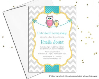 Printable baby shower invitations with owls - gender neutral baby shower invites - yellow, turquoise, gray, chevron - WLP00781
