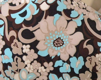 Black, Chocolate, Beige, White and Aqua stretch Print Fabric