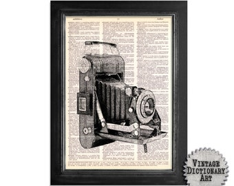 Black & White Vintage Folding Camera - Print on Vintage Dictionary Paper - 8x10.5
