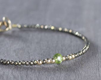 Peridot Birthstone Bracelet, August Birthstone Jewelry, Skinny Peridot & Pyrite Beaded Gemstone Bracelet in Sterling Silver or Gold Filled
