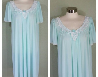 Vintage Nightgown, Light Blue, By Collette by Miss Elaine, large