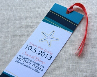 Starfish Beach Bookmark Save the Date -  Waves Destination Wedding Sample