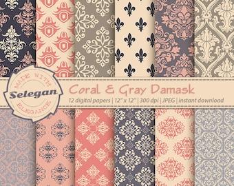 """Damask Digital Paper """" Coral & Gray Damask """" scrapbook digital printable damask background 12x12 backdrop download"""