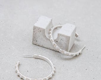 Silver Hoop Earrings / sterling Dote hoops / sculptural dot texture / everyday jewelry