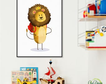 CUTE BABY LION Print Digital print gift Watercolor Lion art for kids Baby boys room decor Animal nursery print Baby lion printable #7