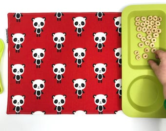 Panda Placemat (Montessori Lunch, Panda Bear Gifts, Back To School Supplies, Cotton Placemat, Red Place Mat, Waterproof Placemat, For Kids)