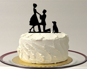 MADE In USA, With Dog Wedding Cake Topper Silhouette Engagement Cake Topper Bride + Groom + Dog Pet Family of 3 Cake Topper Bride Groom Dog