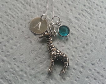 Sterling Silver Personalised 3D Giraffe Pendant Necklace Birthstone Charm Initial Gift