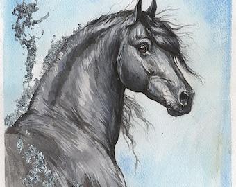 Original vergoldeten Stift und Aquarell Malerei ein Friesen-Pferd