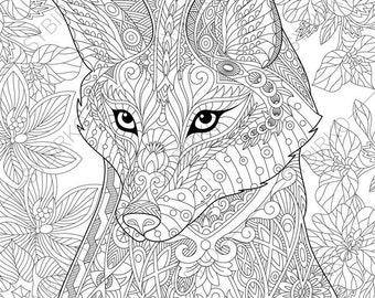 Fox. 2 Coloring Pages. Animal Coloring Book Pages For Adults. Instant  Download Print