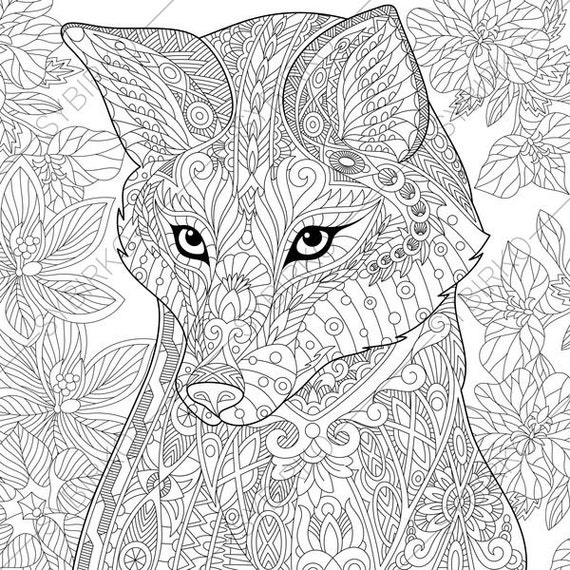 Fox. 2 Coloring Pages. Animal coloring book pages for Adults.