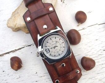Mens Leather watch, Brown leather Wrist Watch, Leather cuff watch, Right-hand watch
