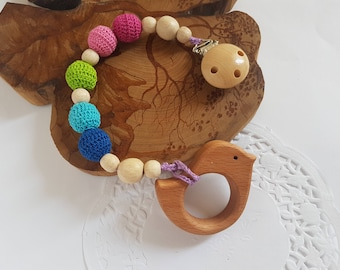 Baby teething toy natural toy teether wooden teether baby gift