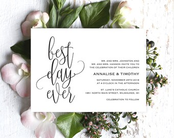 Best Day Ever Wedding Invitation, Wedding Invitation Template, Rustic Invitation, Wedding Printable, Invite, PDF Instant Download #BPB269_1
