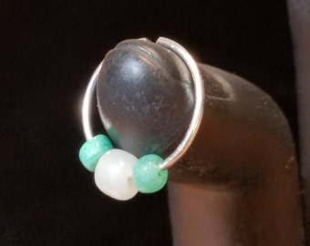 Turquoise, White and Silver Nose/Cartilage Rings