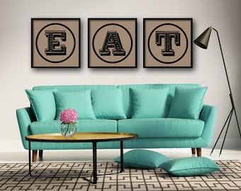 12x12 EAT kitchen typographic art print quote poster inspirational kraft paper typography home decor motivational