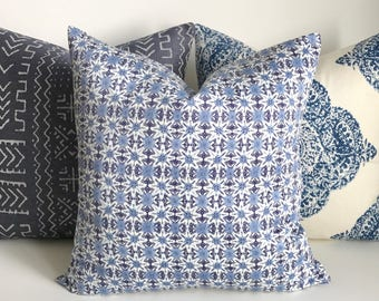 Navy, blue and white boho block print Decorative Pillow Cover