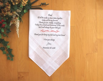 Father of the Bride handkerchief, custom PRINTED wedding handkerchief, Personalized. MS1FPRIS[77]
