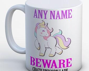 Unicorn Mug Personalised Unicorn Mug Crazy Unicorn Lady Mug Personaslised Unicorn Gift Unicorn Gift MUG