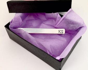 Personalized aluminum Tie Clip, Groomsmen tie clip Custom Tie Clip, gift for him, dad, boy friend