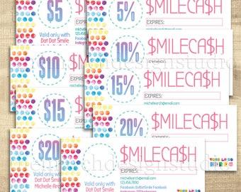 Dot Dot SmileCash, Dot Dot Smile Cash, Dot Smile Marketing, Dot Smile Gift Certificate, Personalized, Digital, Custom, bright