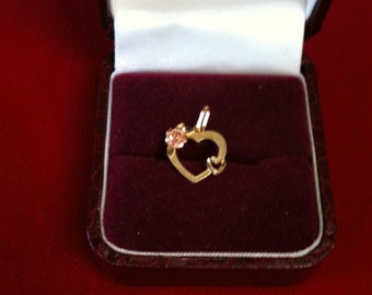 14 K Yellow & Rose Gold Heart in Heart Charm With Flower in Rose Gold.0.7 gm.