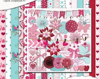 SALE Save 80%! Valentine Digital Scrapbooking Kit  in Pink & Blue, Instant Download