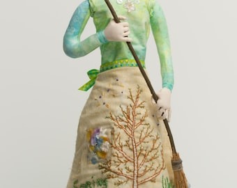 "Spring Woods is a 20""tall stump doll pattern."