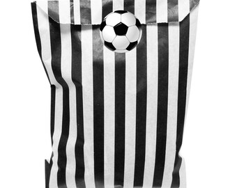Black & white paper party bags with 30mm 3D effect football design stickers - 24 of each