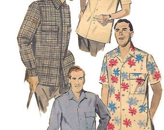 "Vintage 1950's Sewing Pattern Man's Casual Sports Shirt Medium Neck 15""-15.5"""