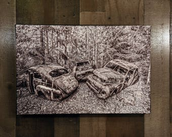 Volvo Old Car Art European Classic Car Wall Hanging Photograph Print on Canvas