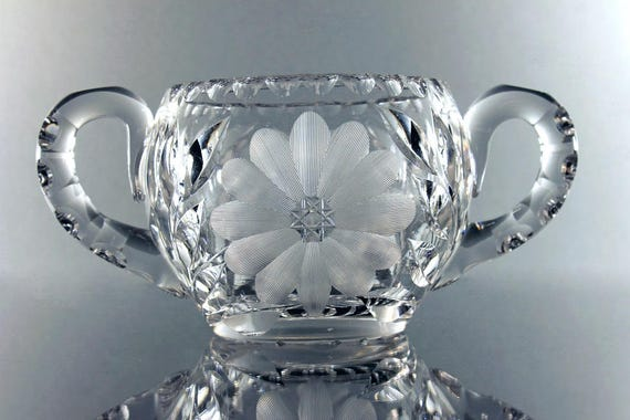 American Brilliant Sugar Bowl, Antique Leaded Crystal, Large Sized, Wheel Cut, Clear Cut Glass