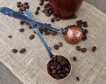 Forged Coffee Scoop. Blacksmith forged coffee gift, copper and wrought iron, tablespoon Coffee spoon measuring spoon Adirondack Iron