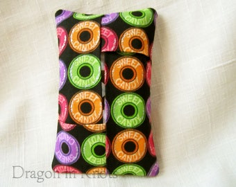Travel-sized Tissue Holder - Hard Round Candy Themed Pocket Tissue Cover, Black Fabric Accessory for Bag, pink purple lime green orange