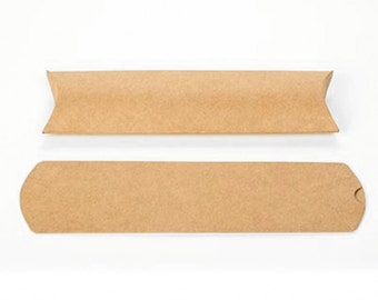 25 Long Brown Kraft Pillow Boxes 2 x 3/4 x 7 Inches, Usable Space 2 x 6 1/2 Inches