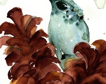 Hummingbird Art Print, Hummer in the Pinecones, 8 x 10 Bird Art