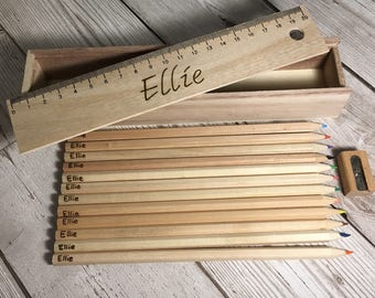 Personalised wood burned stationery set. 12 colouring pencils, sharpener and box with personalised sliding ruler lid