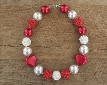 Valentine's Day Chunky Necklace, Bubblegum Bead Necklace, Chunky Beads, Baby Bubblegum Necklace, Valetines Necklace, Red and White Necklace