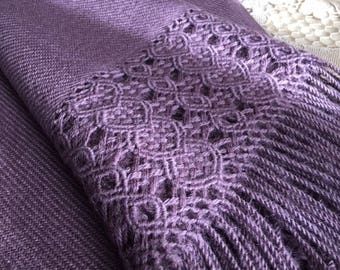 Country Lavender baby alpaca shawl (fully hand-made)