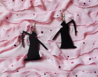 Black GRIM REAPER Acrylic Goth Earrings with Silver Earring Hooks //  Ear Wire
