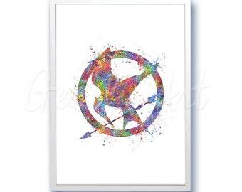Mockingjay The Hunger Games Watercolor Art Poster Print - Watercolor Painting - Watercolor Art - Kids Decor- Nursery Decor