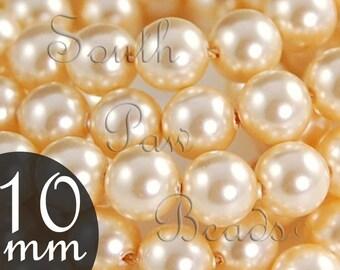 Swarovski crystal 5810, 10mm Light Gold pearl beads, Qty 10